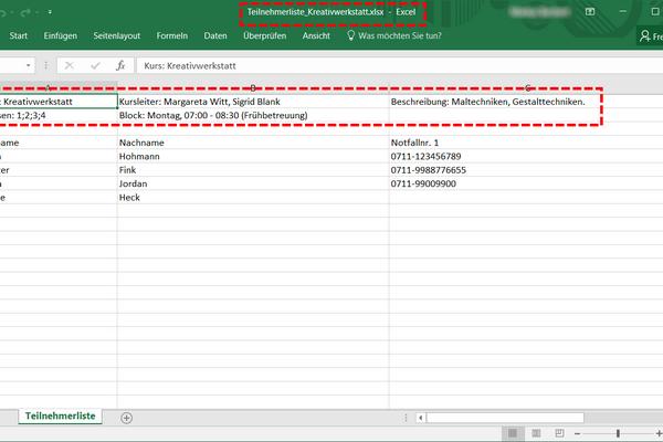 Sämtliche Daten (je nach Berechtigung) können einfach ins Excel-Format exportiert werden (Admin/Kursleiter)