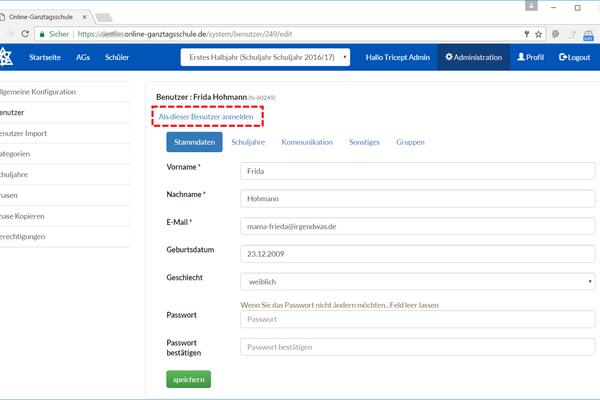 Der Benutzerwechsel bringt den Admin mit einem Klick in die Rolle des Schülers oder Kursleiters (Admin)