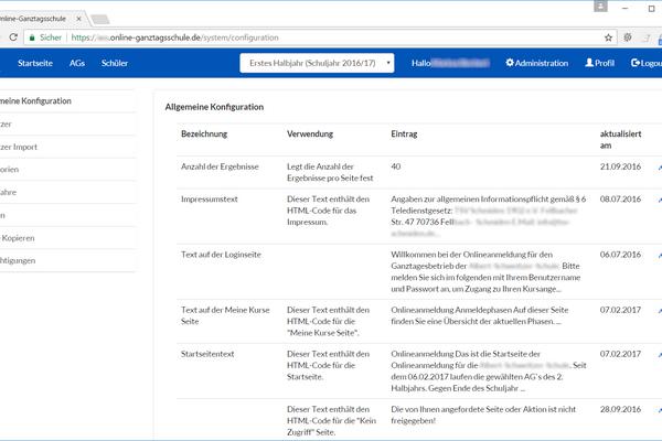 Konfiguration der Plattform online-ganztagsschule.de auf Ihre Schule (Admin)